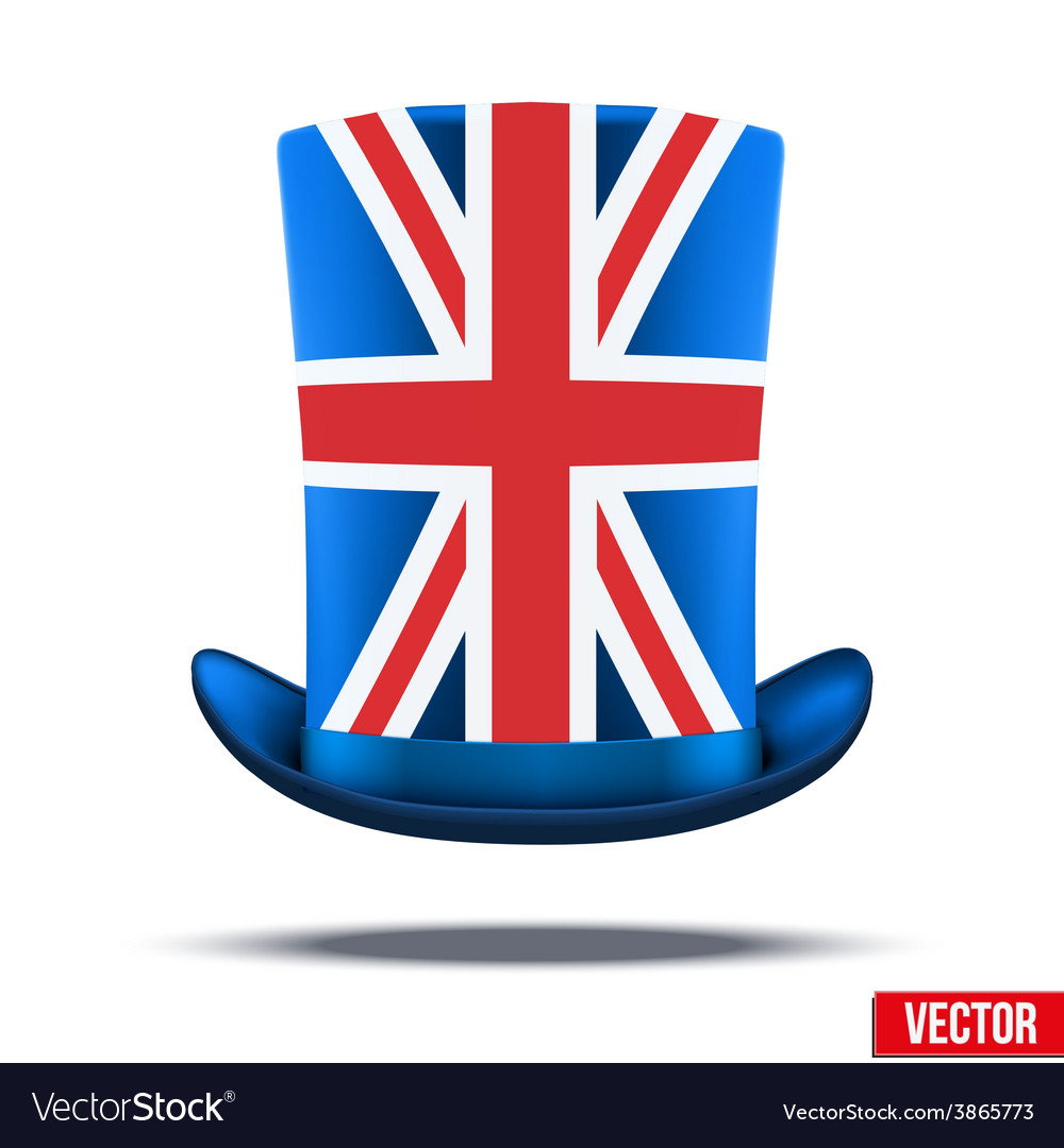 Cylinder hat with a British flag