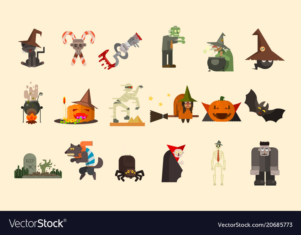 Halloween elements and funny characters zombie