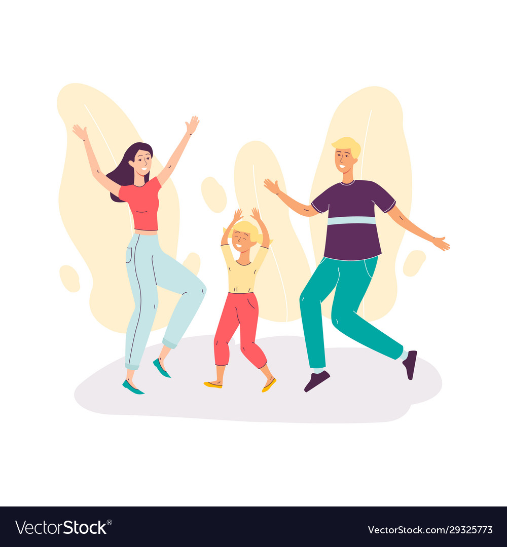 Happy family couple with child dancing together