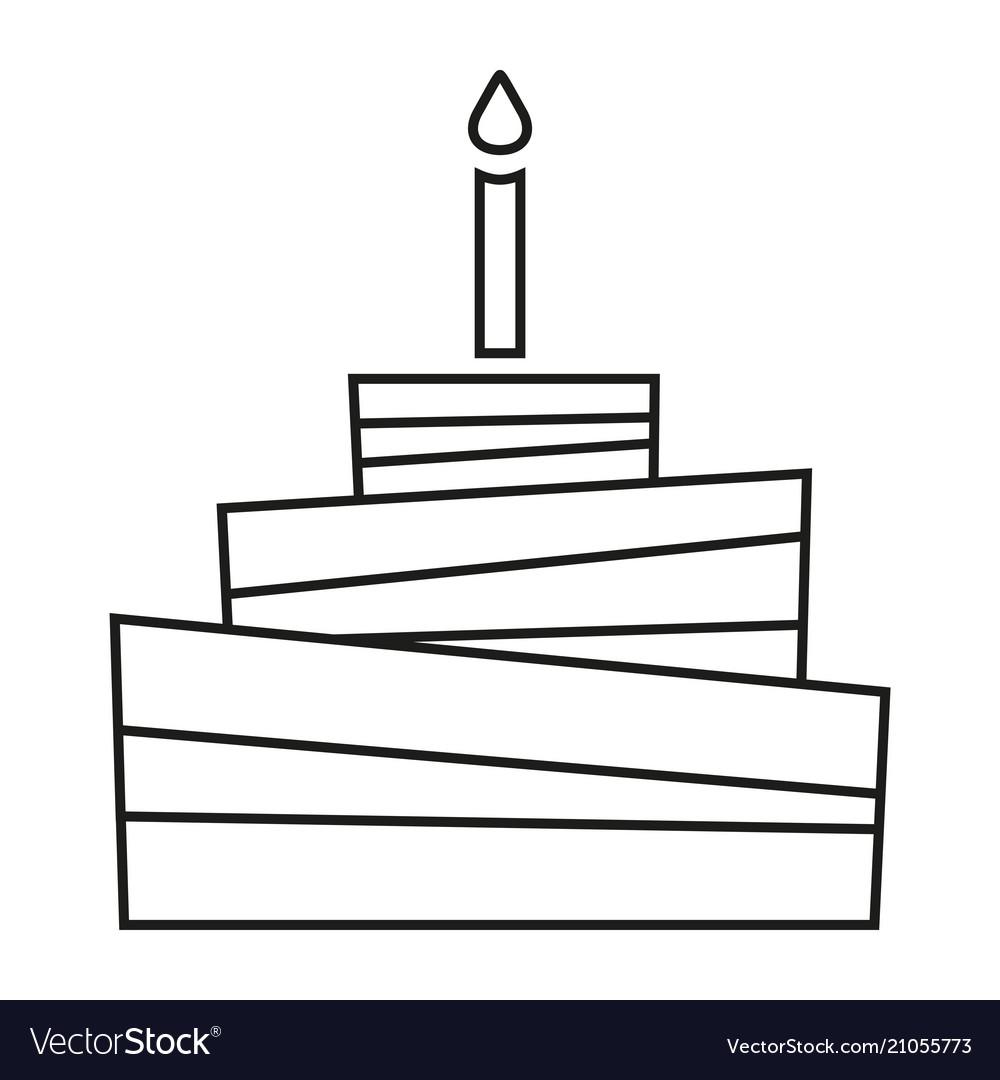 Line art black and white birthday cake