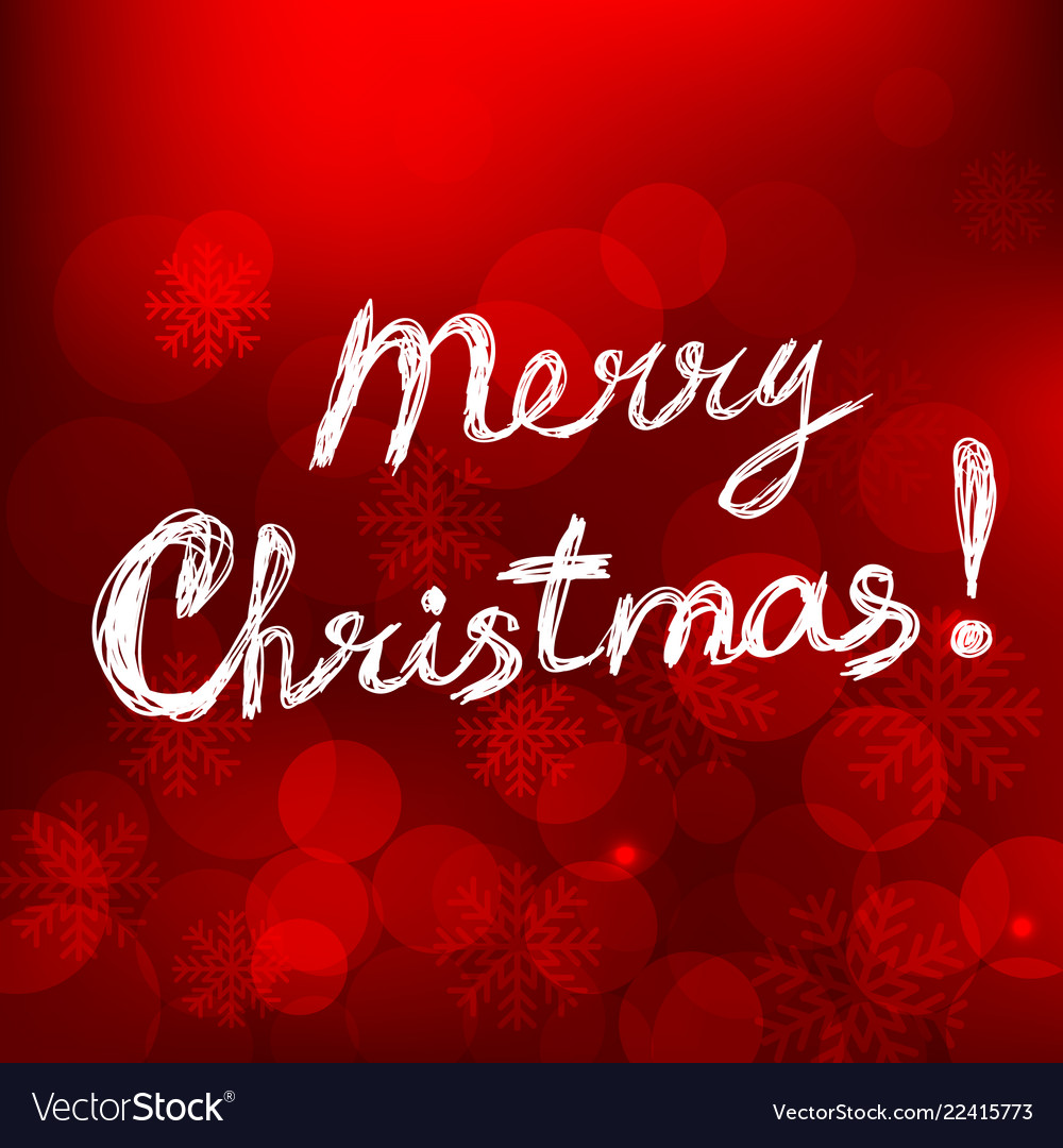 Merry christmas card with text on red background
