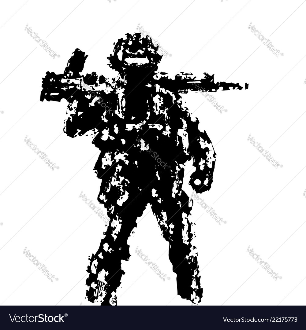Soldier holding assault rifle on his shoulder
