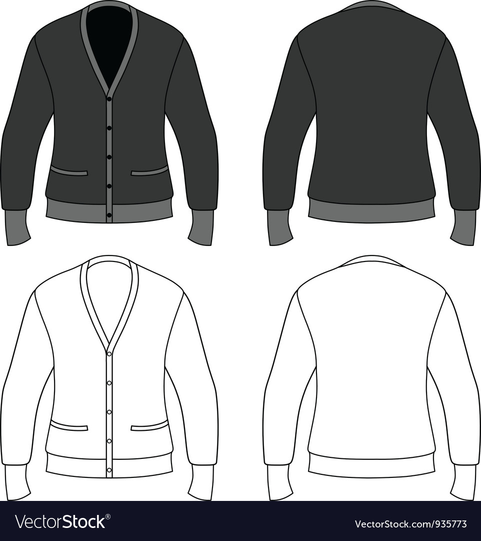 Template outline of a blank cardigan