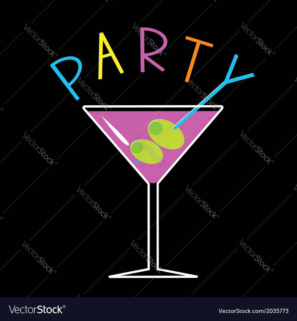 violet cocktail in martini glass word party card vector image