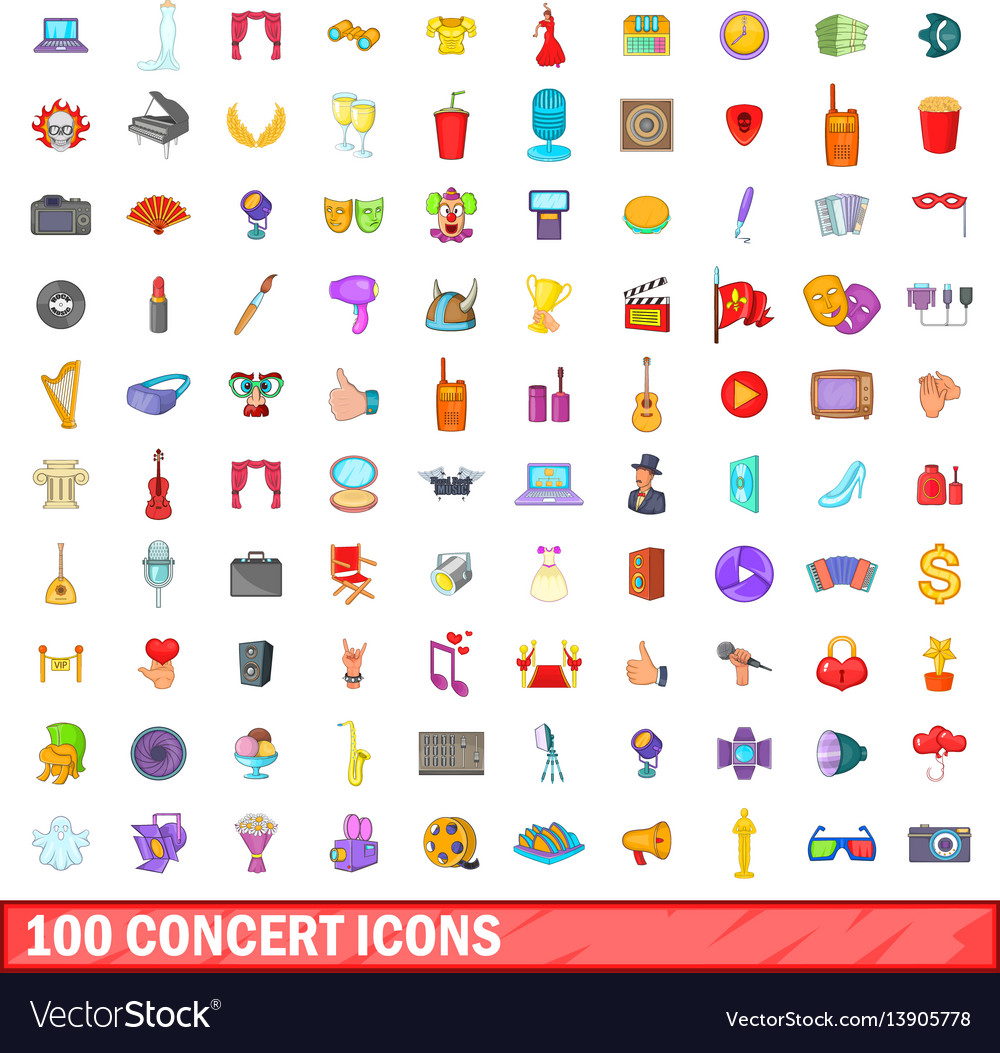 100 concert icons set cartoon style