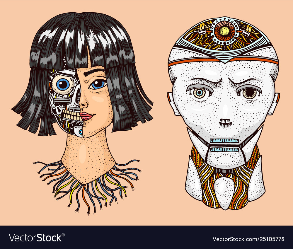 Artificial intelligence man and woman with half