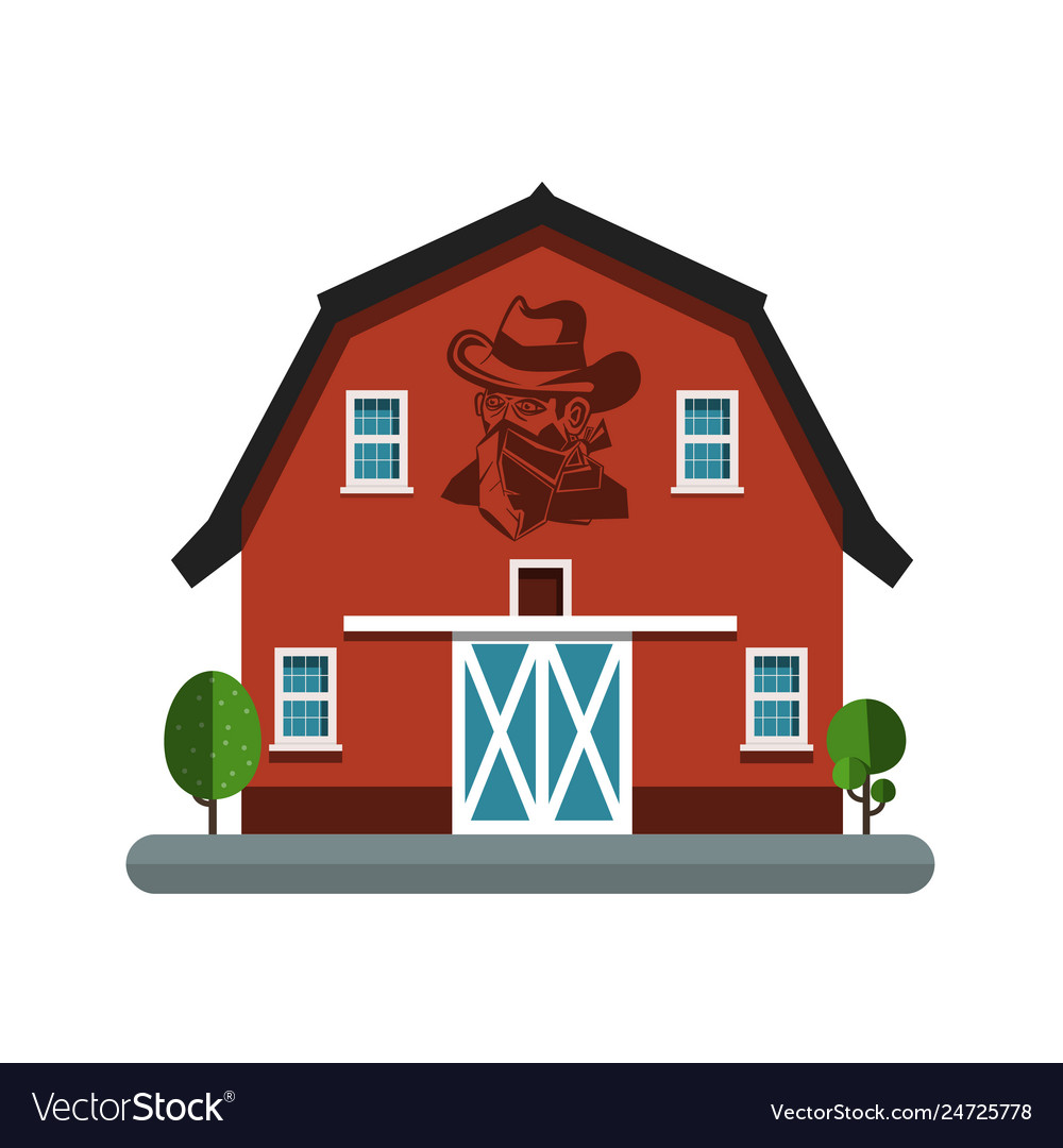 Barn symbol with cowboy on wall building icon