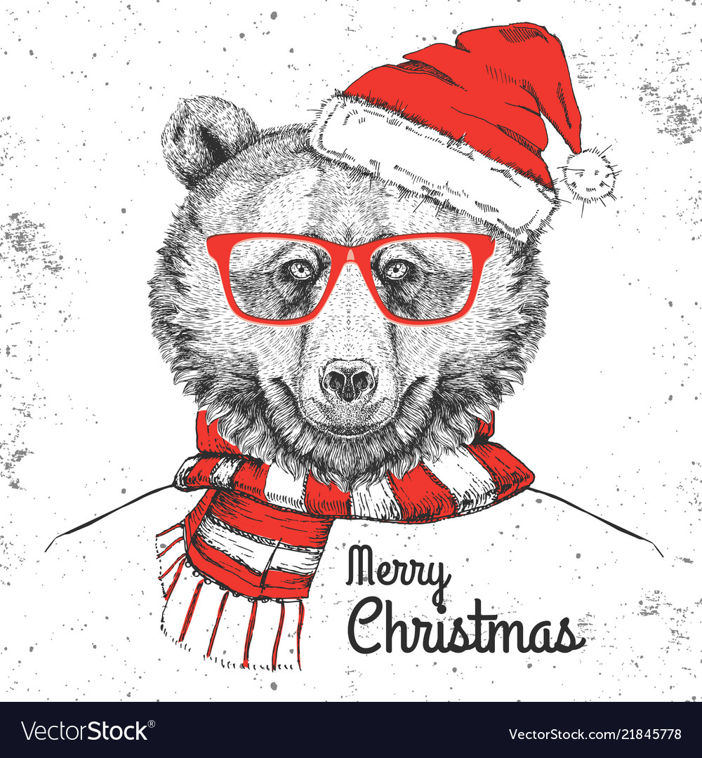 Christmas hipster fashion animal bear