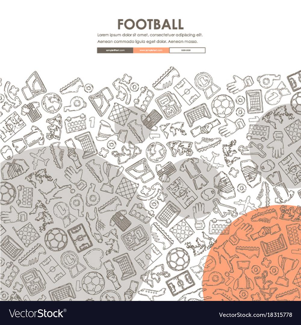 football doodle website template design royalty free vector