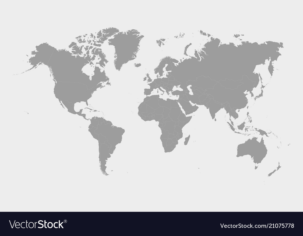 Grey world map isolated on white background vector image gumiabroncs Image collections