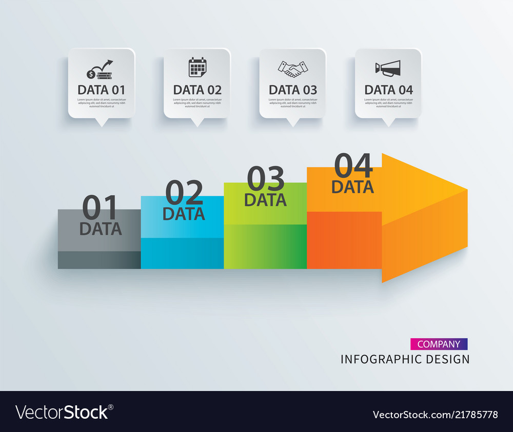 Infographics arrow timeline step with 4 data