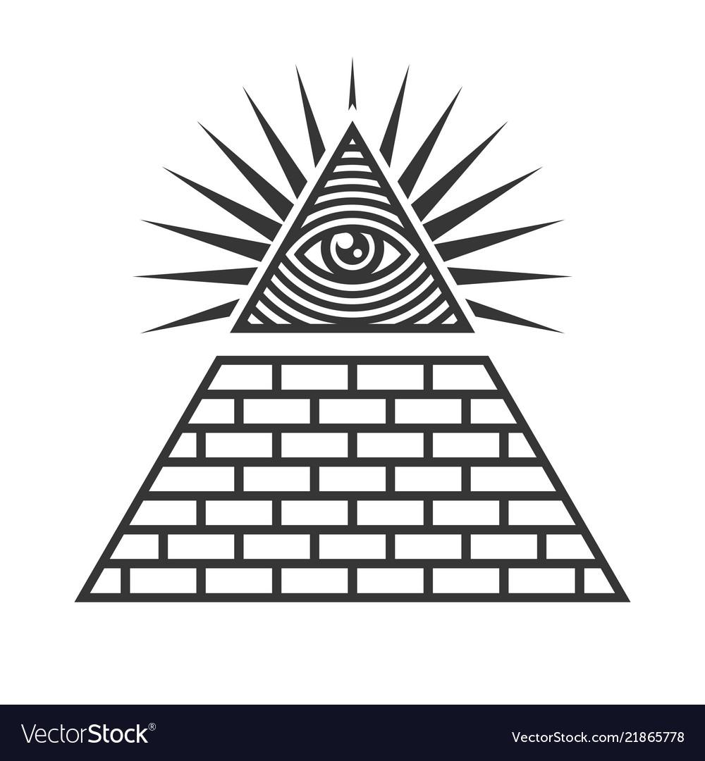Masonic Illuminati Symbols Eye In Triangle Sign Vector Image