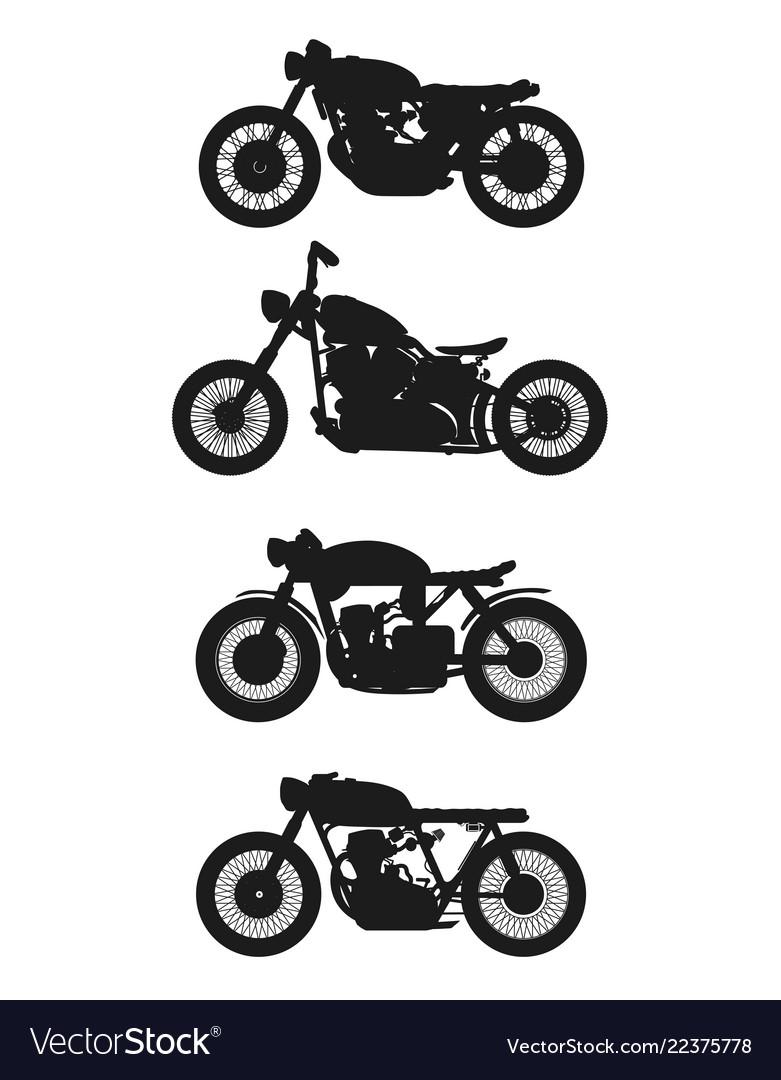Set 4 vintage motorcycles graphics
