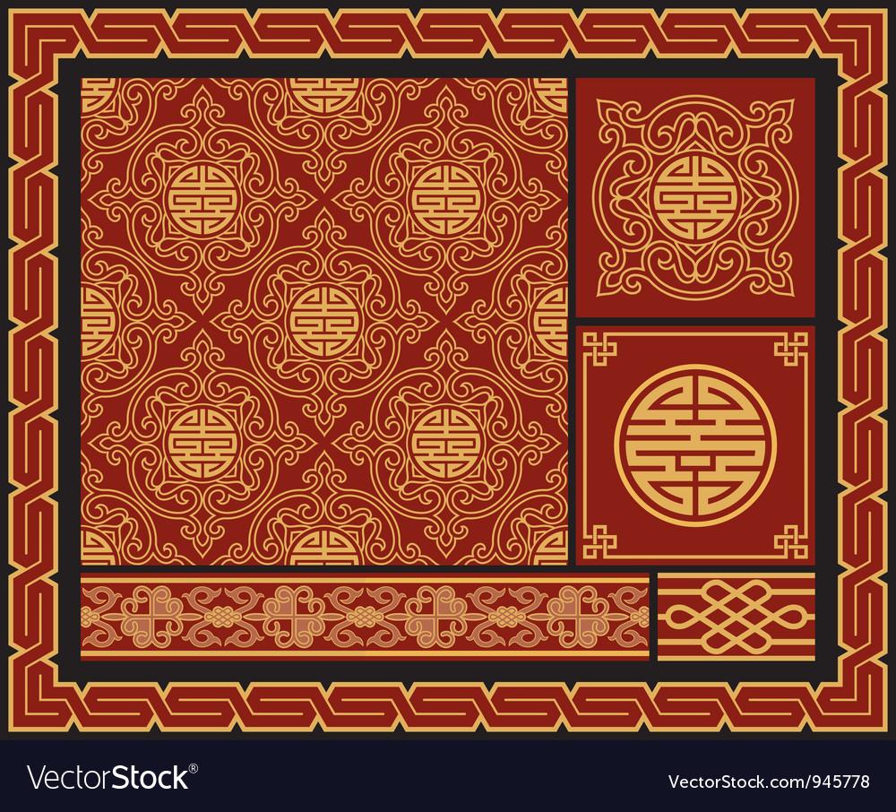 Set oriental design elements
