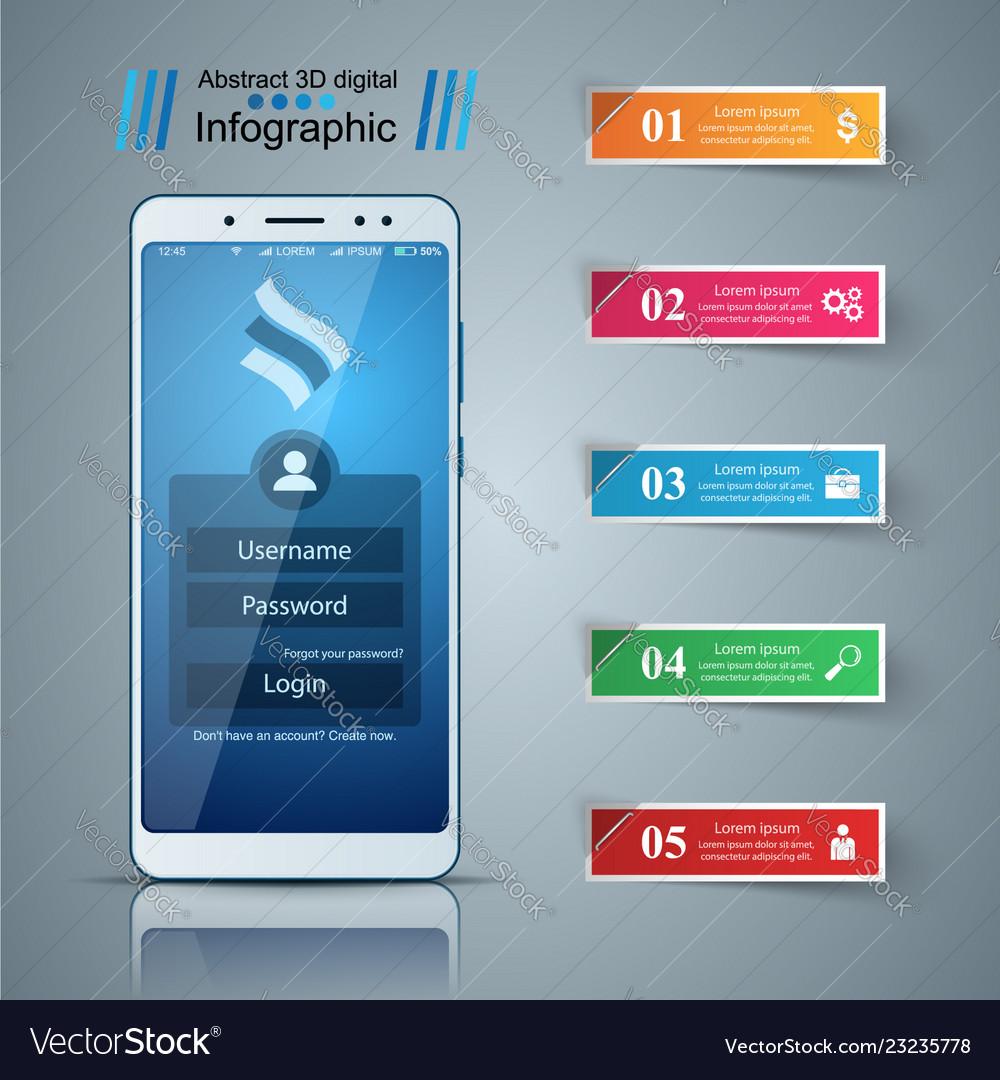 Smartphone digital gadget - business infographic