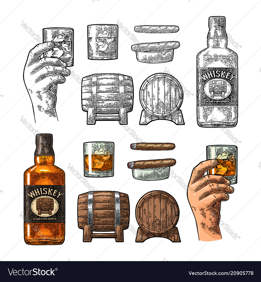 Whiskey glass with ice cubes barrel bottle and