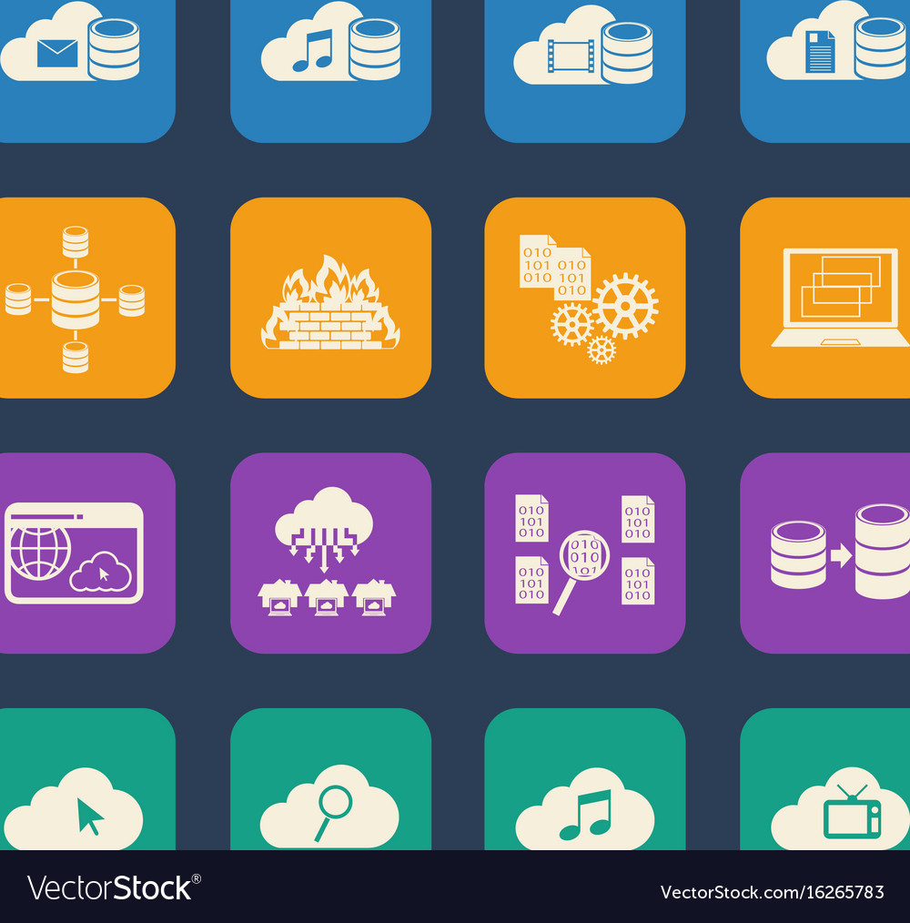 Big data cloud computing icons set