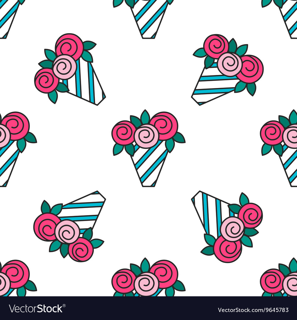 Bouquet of roses Seamless pattern with flowers on