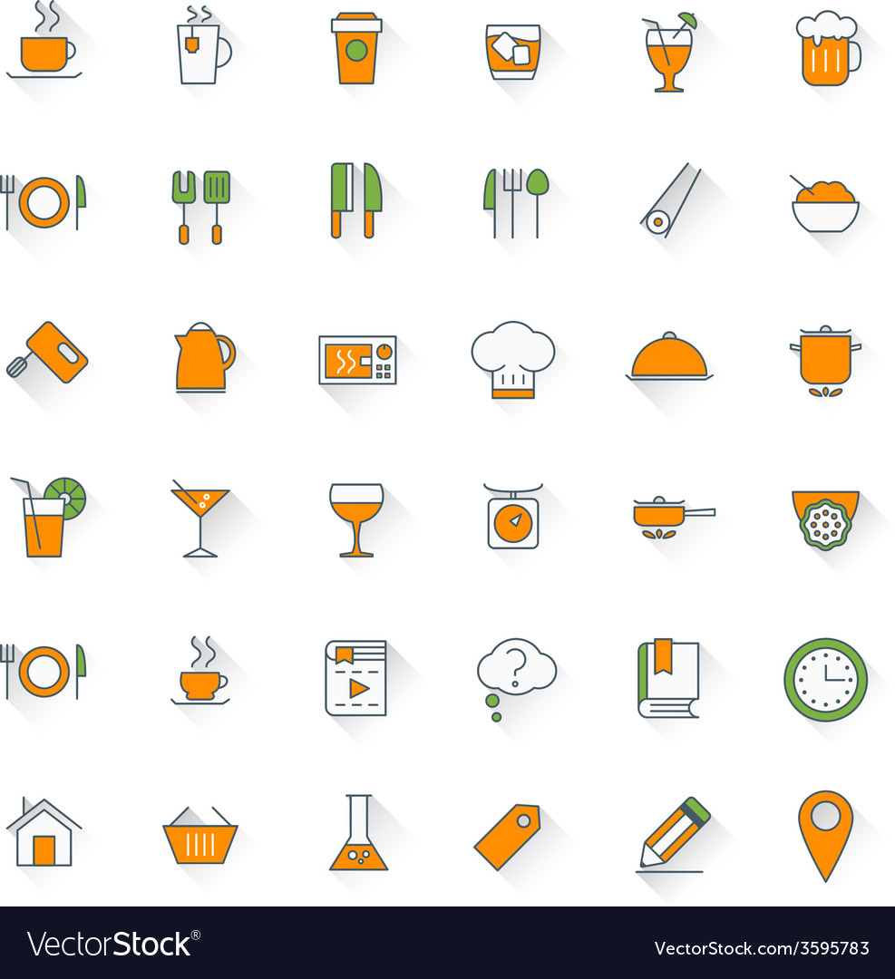 Food and restaurant flat design icon set Food vector image