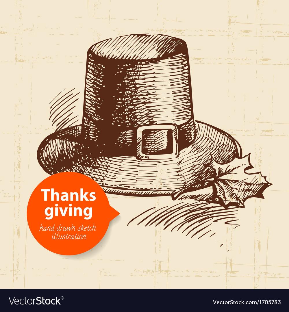 Hand drawn vintage thanksgiving day sketch