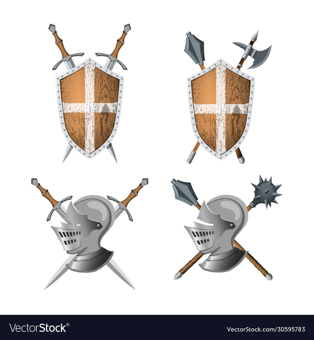 Knights coat arms warrior weapons