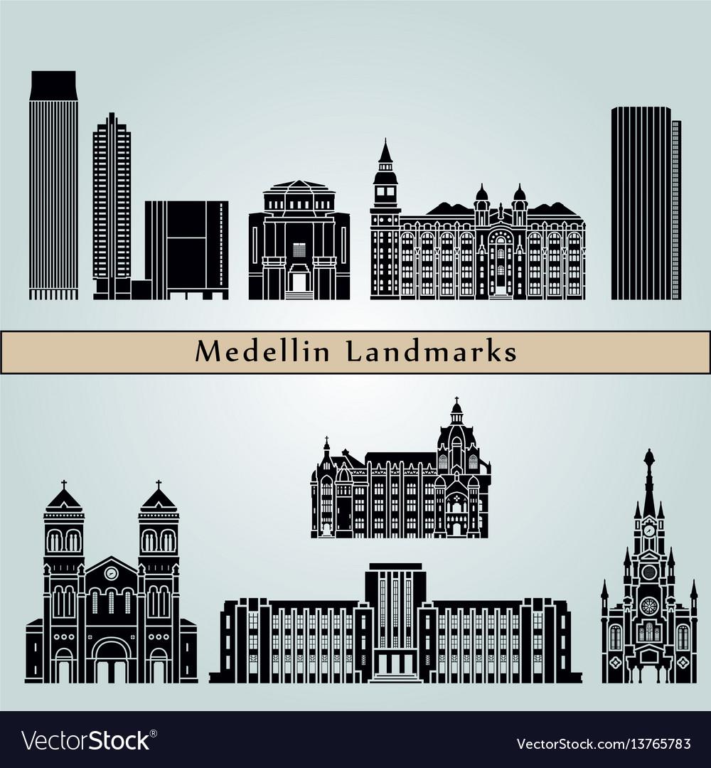 Medellin landmarks vector image