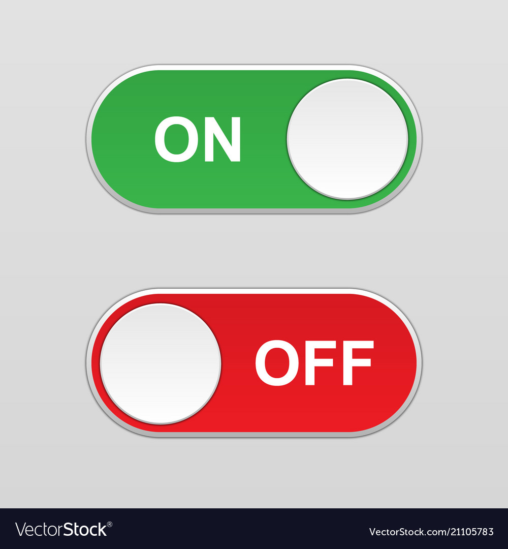 On and off toggle switch button Royalty Free Vector Image