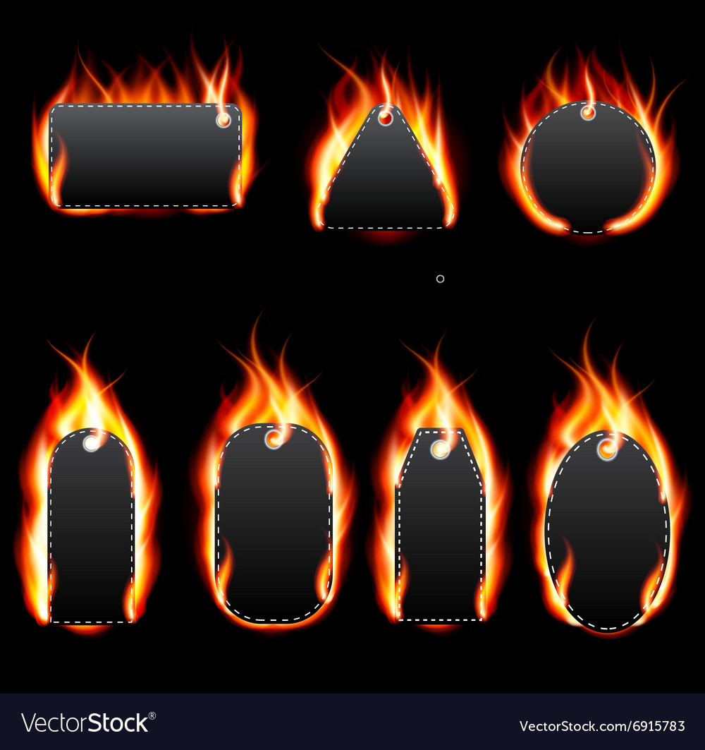 Realistic Fire Label Set on Dark Background