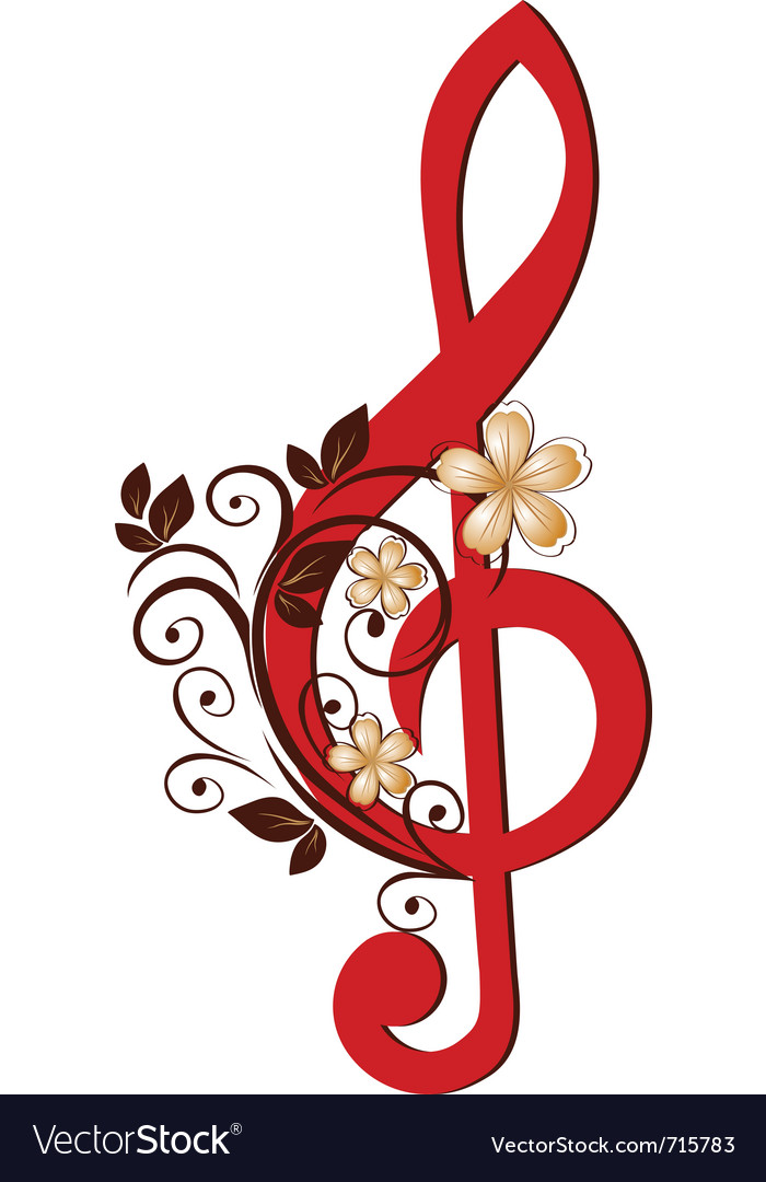 Treble clef with a flower pattern vector image