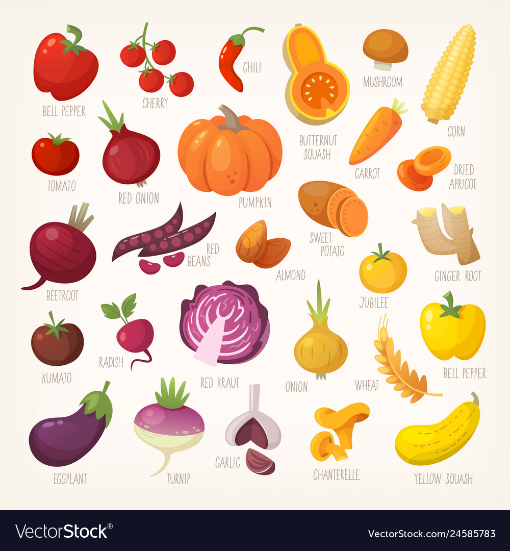 Variety of yellow and red fruit and vegetables
