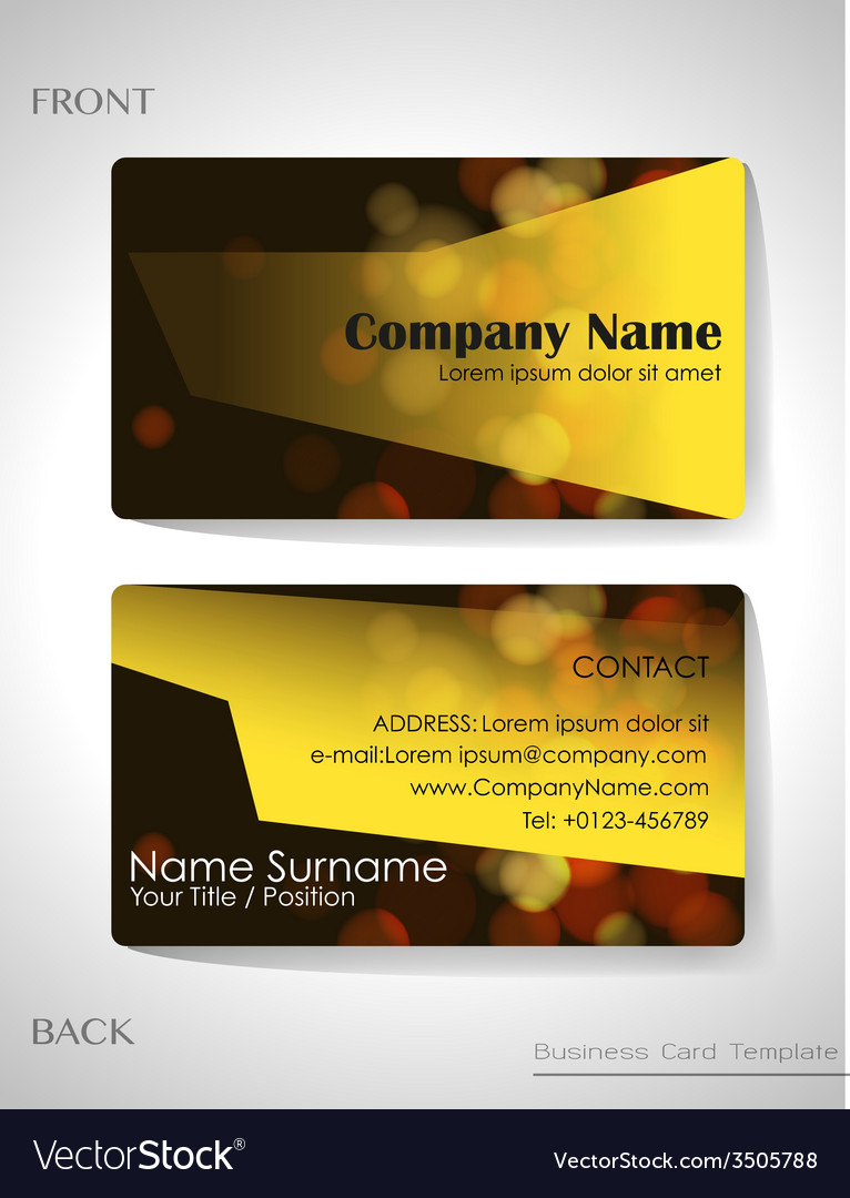A front and back business card Royalty Free Vector Image