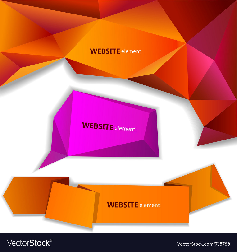 Abstract origami paper banner website element