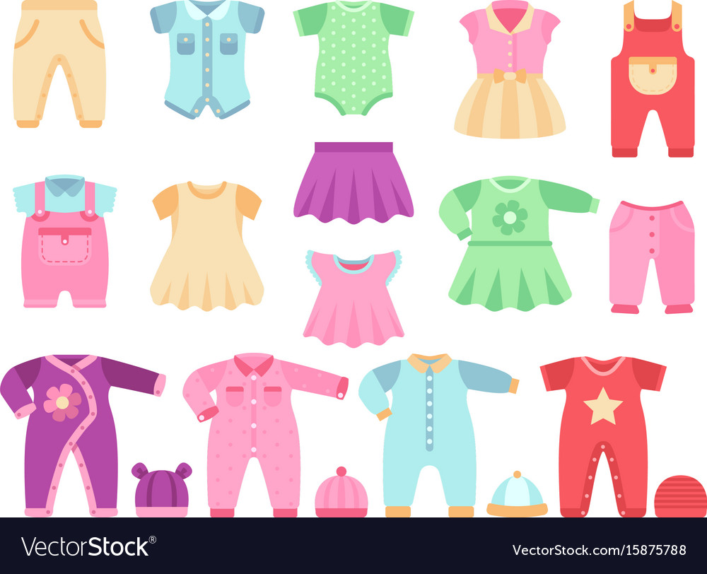 Colorful bagirl clothes set Royalty Free Vector Image