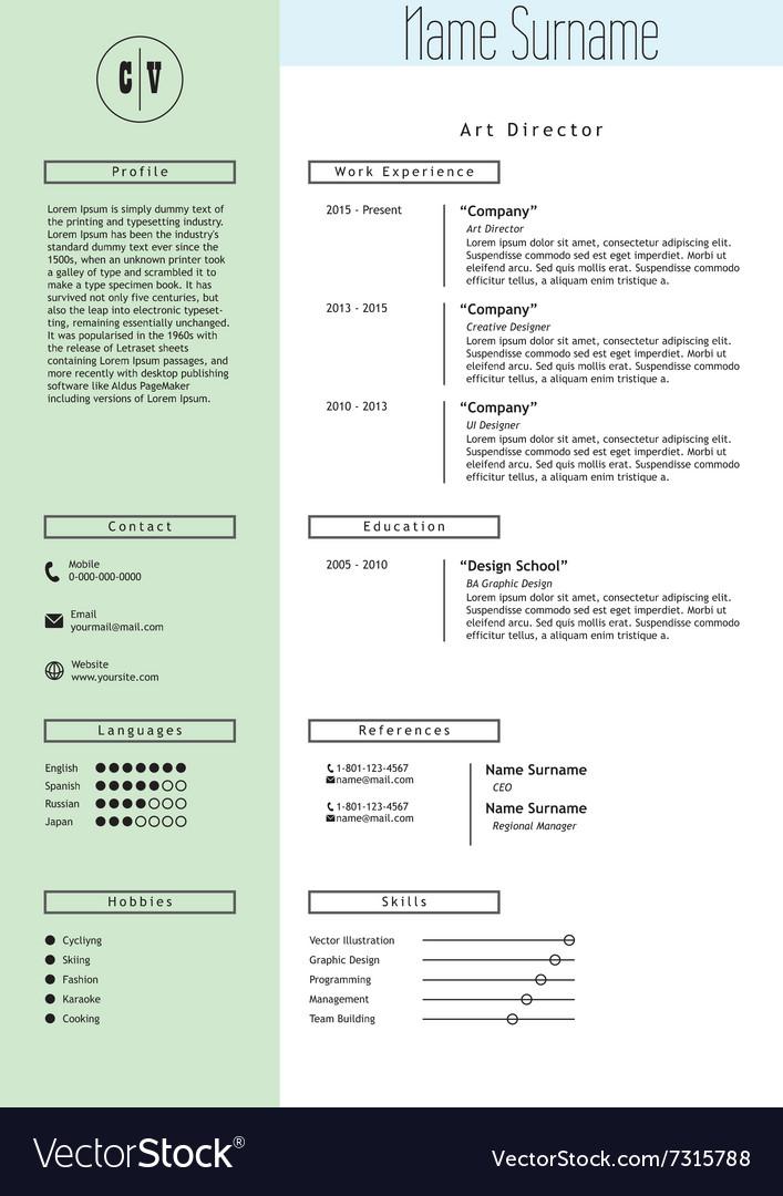 Creative resume template Minimalist style