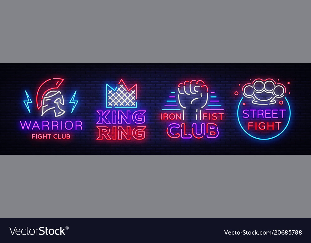 Fight club collection neon signs set logo in neon