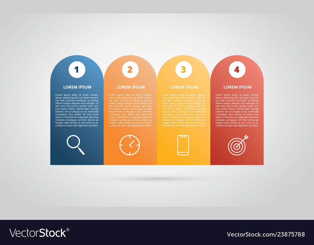 Infographic 4 step process horizontal for