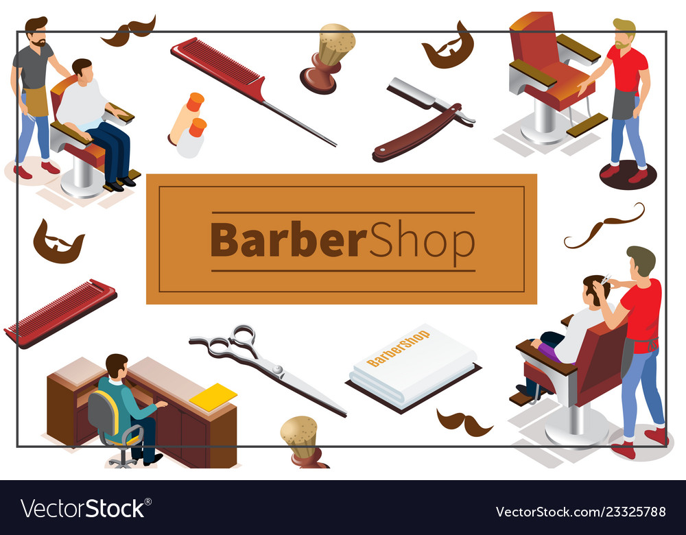 Isometric barber shop colorful concept