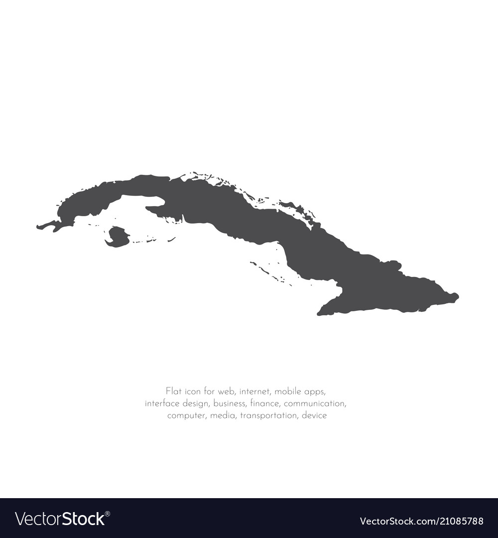Map cuba isolated black on vector image