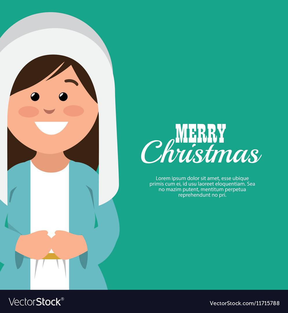 Merry christmas card with virgin mary smiling vector image