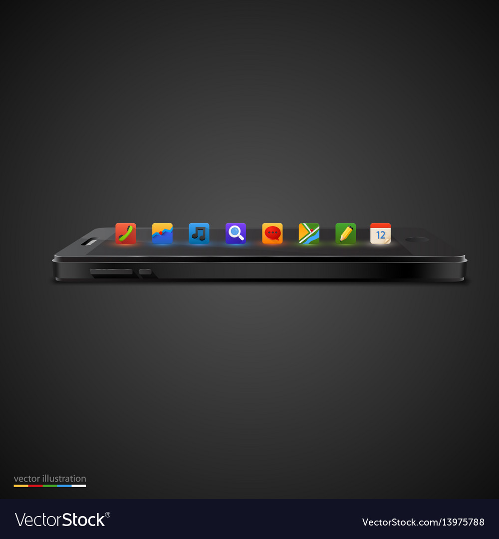 Realistic smartphone with row of icon