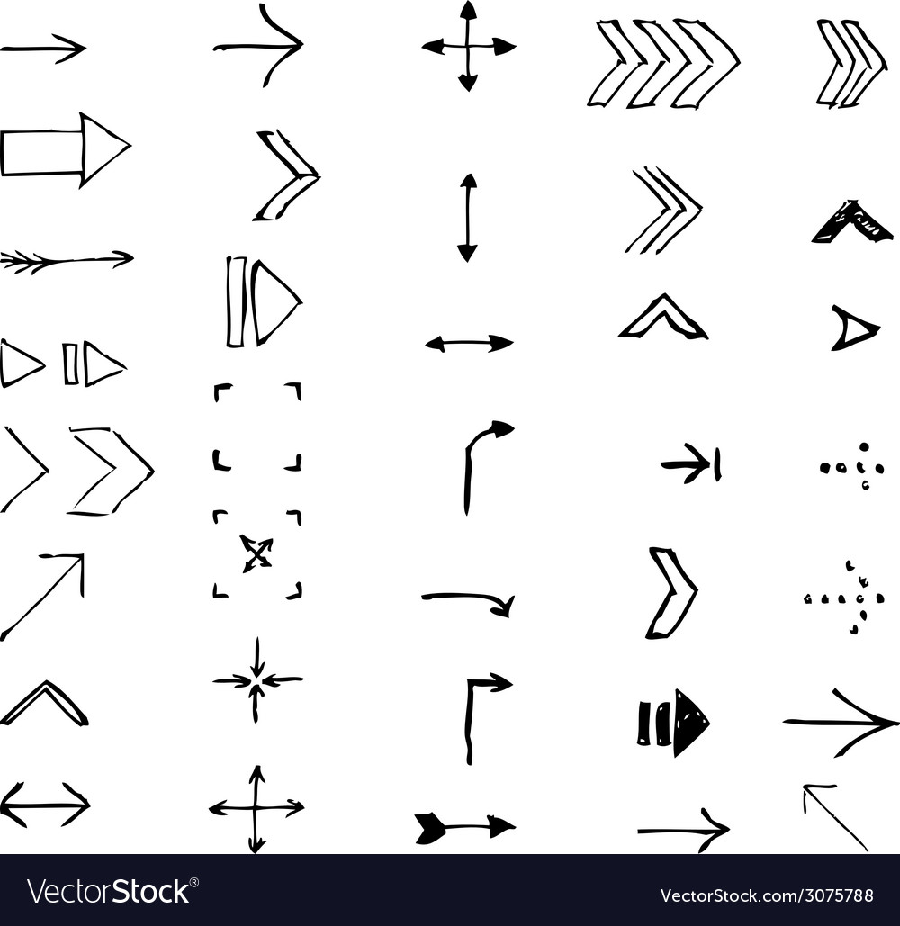 Set of hand-drawn arrows