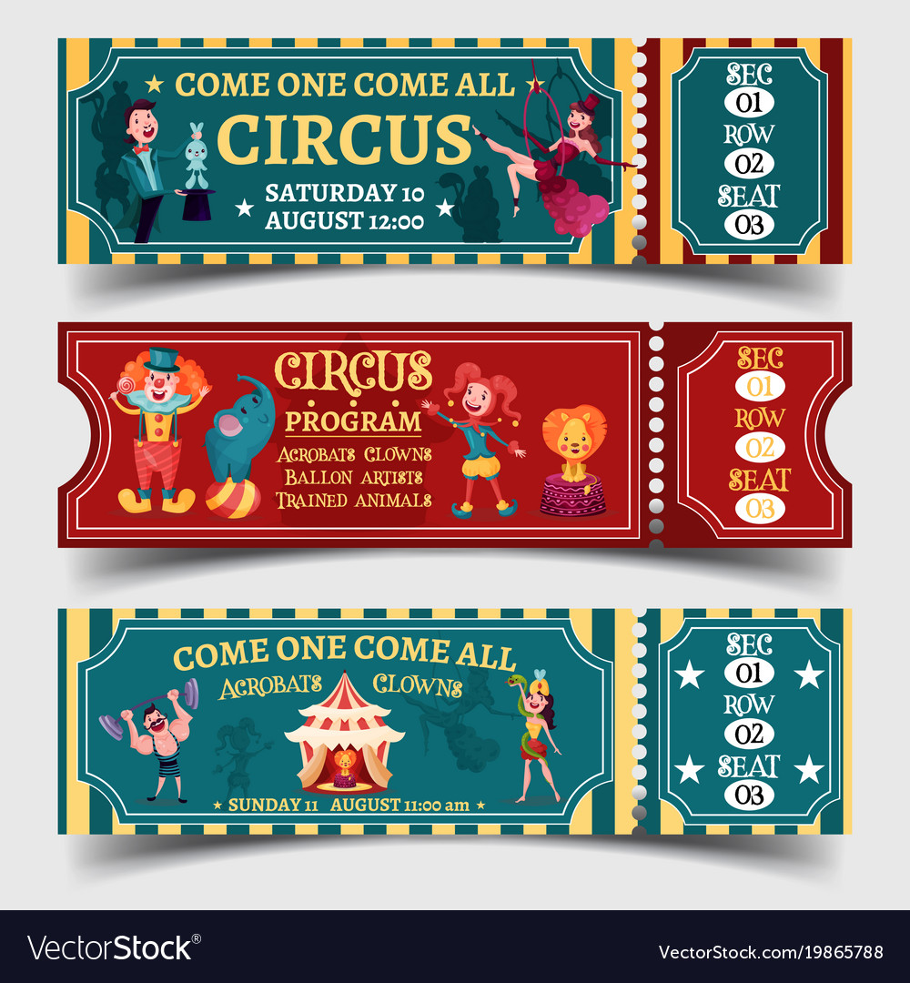 Set of isolated circus entertaining show tickets