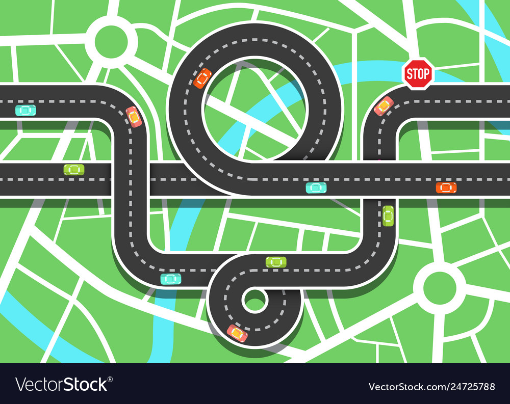 Top view city map with cars on road and stop sign
