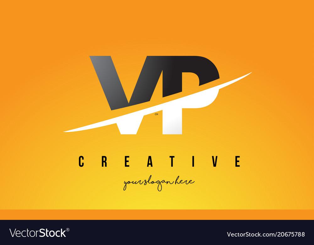 Vp v p letter modern logo design with yellow