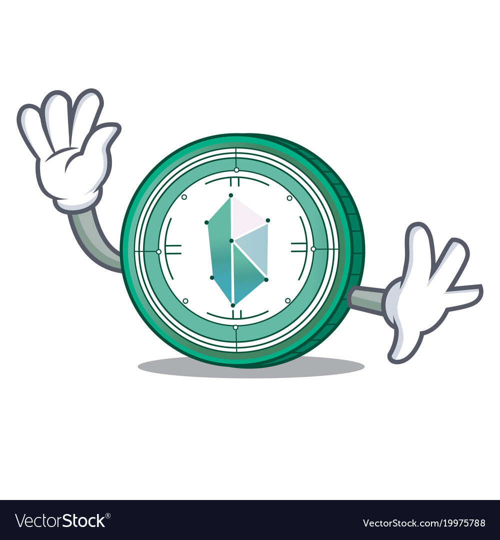 Waving kyber network character cartoon