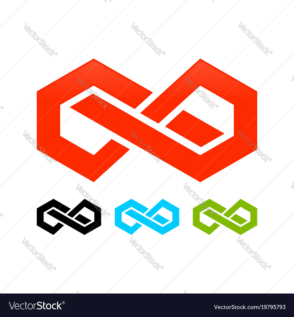 Abstract infinite block symbol graphic design vector image