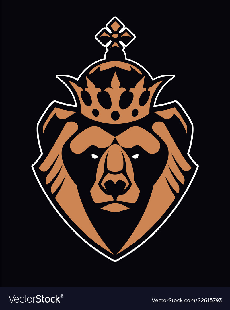 Bear in crown mascot icon