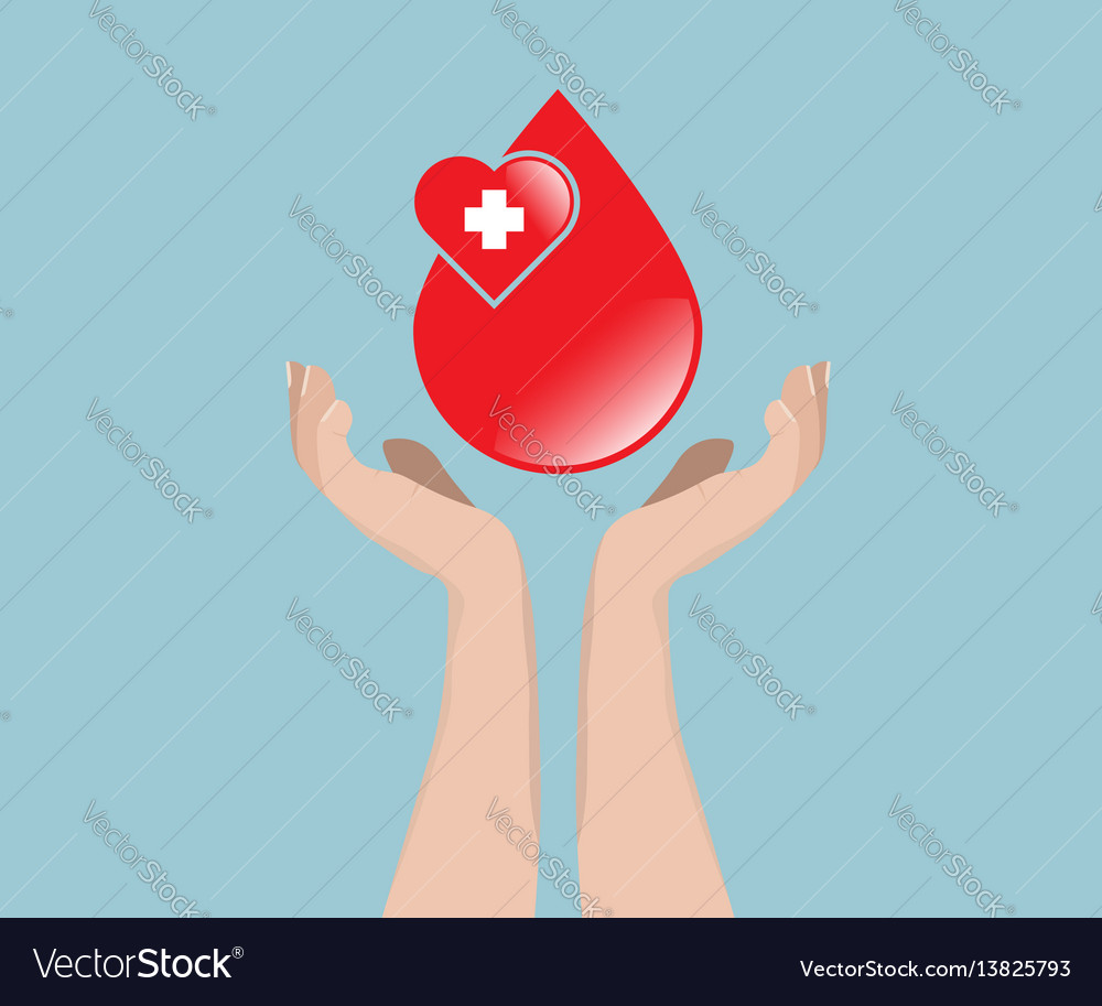 Blood donation concept blood with hand