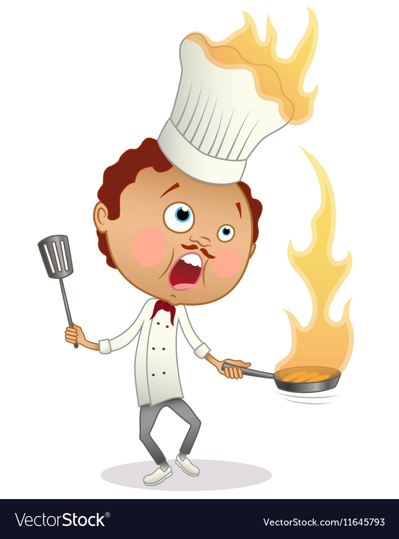 Cartoon chef cooking a flambe with his hat in fire vector image