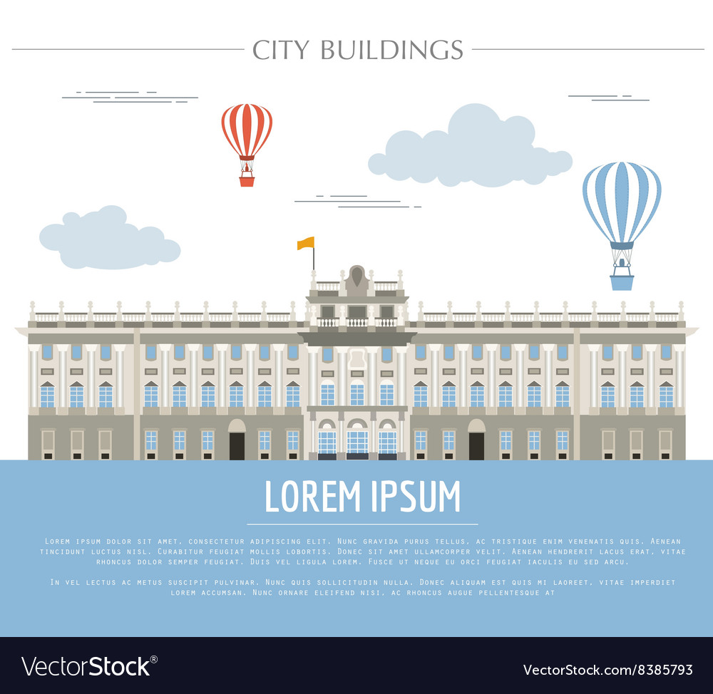 City buildings graphic template Royal Palace